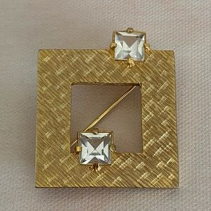 DeNicola VINTAGE Gold Square Brooch with stones